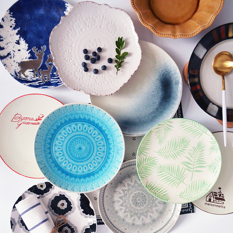 Special price micro defect clearance ceramic plate tableware family restaurant dish dish round creative Western dish steak plate