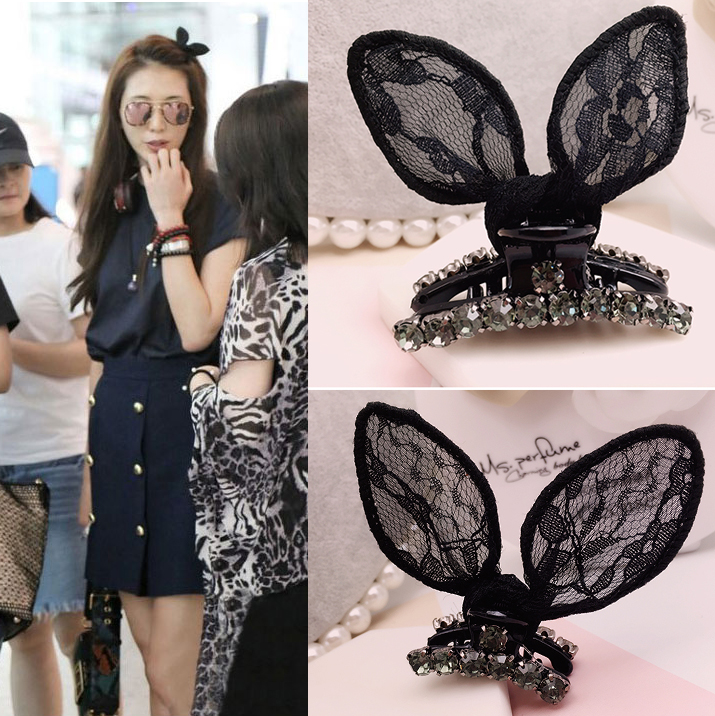Lin Zhilings same super popular BB clip, lace rabbit ear hair clip, soft sister sells germination jewelry clip