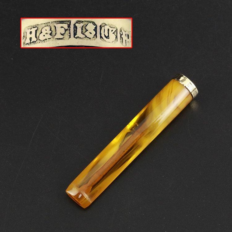 Рано период великобритания 18K золото чистый желтый золото янтарь воск дым рот западный древний директор серебро устройство