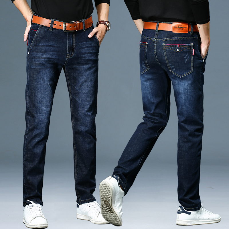 Mens jeans autumn high waist business leisure middle aged mens straight oversize high stretch fathers pants