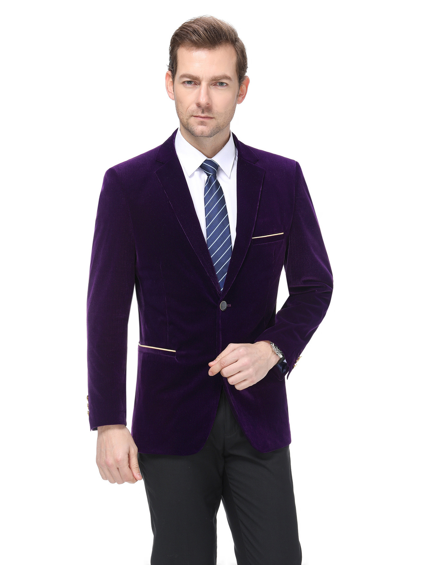 Autumn and winter mens suit fashion leisure middle aged wool single suit fashion mens striped coat youth fashion thick