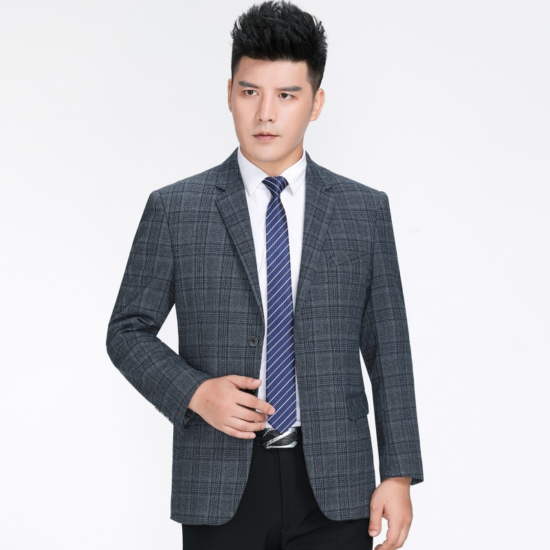 High grade wool single west middle-aged business Plaid casual suit top single coat mens suit for middle-aged and old men