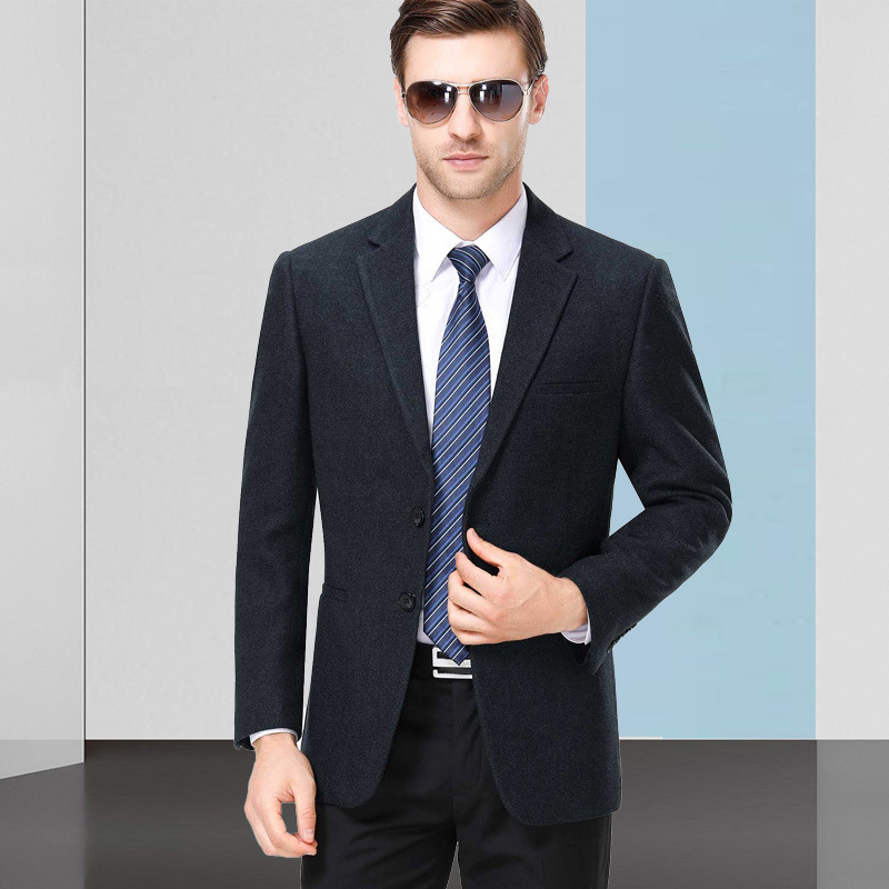 Autumn and winter mens suit fashion leisure middle-aged wool single suit boutique coat one hair substitute one double breasted