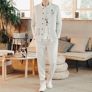 春夏中式唐装男士套装中国风青年中山装三件套男刺绣外套复古汉服