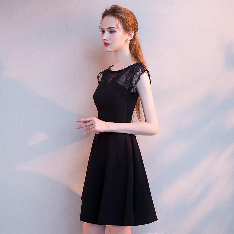 晚礼服女2018新款宴会短款派对黑色洋装小礼服裙名媛长款显瘦聚会