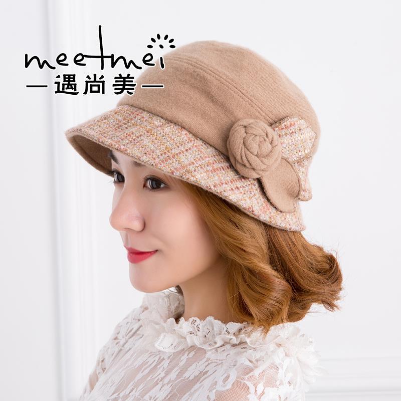 新款 2020韩国韩版时尚休闲百搭花朵羊呢帽子女贝雷帽软帽子