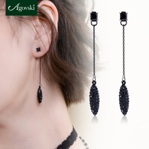 Agovski Ear Line Black earrings temperament black long female silver ear ornaments 925 sterling silver long temperament hundred earrings