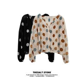 时尚港味波点长袖衬衫2020年秋季新款韩版女装流行v领百搭上衣潮