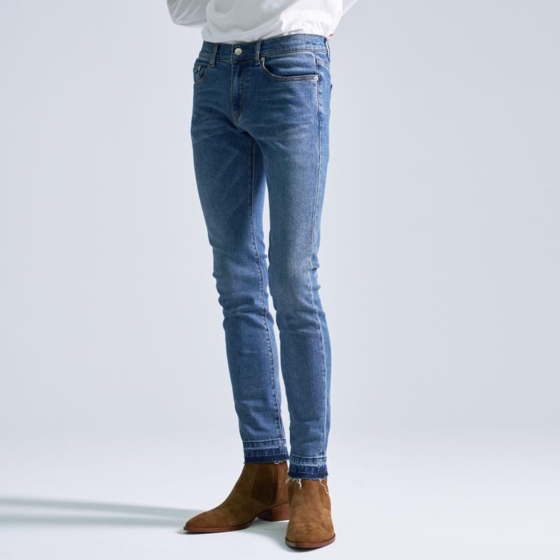 AMIPOS  秋冬 洗水须边修腿型低腰小裤口蓝色牛仔裤 SLP 风格