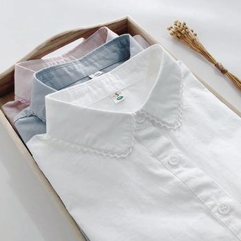 春秋韩版蕾丝花边长袖白色修身衬衫
