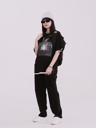 NECY 黑色水洗高腰直筒竹节纹路牛仔裤女ins潮流嘻哈宽松显瘦长裤