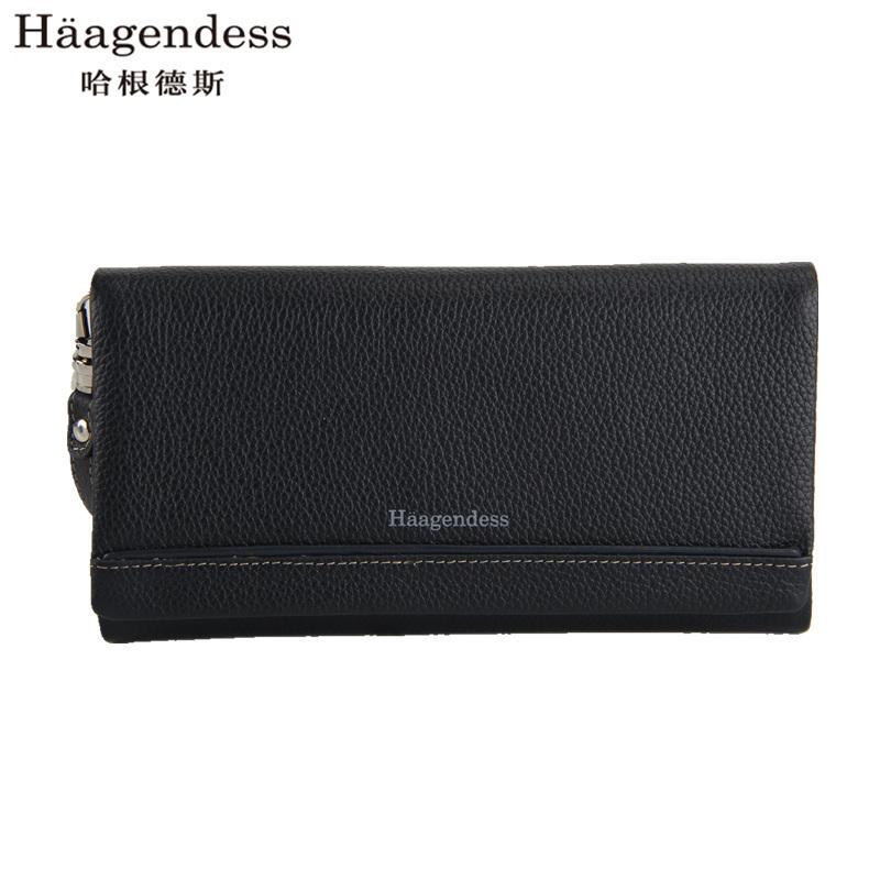 哈根德斯拉链真皮男士长款钱包中老年头层牛皮男式钱包商务手拿包