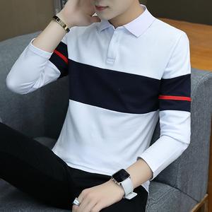 2018秋季长袖T恤男士青年卫衣长袖体恤条纹翻领POLO衫男装潮韩版