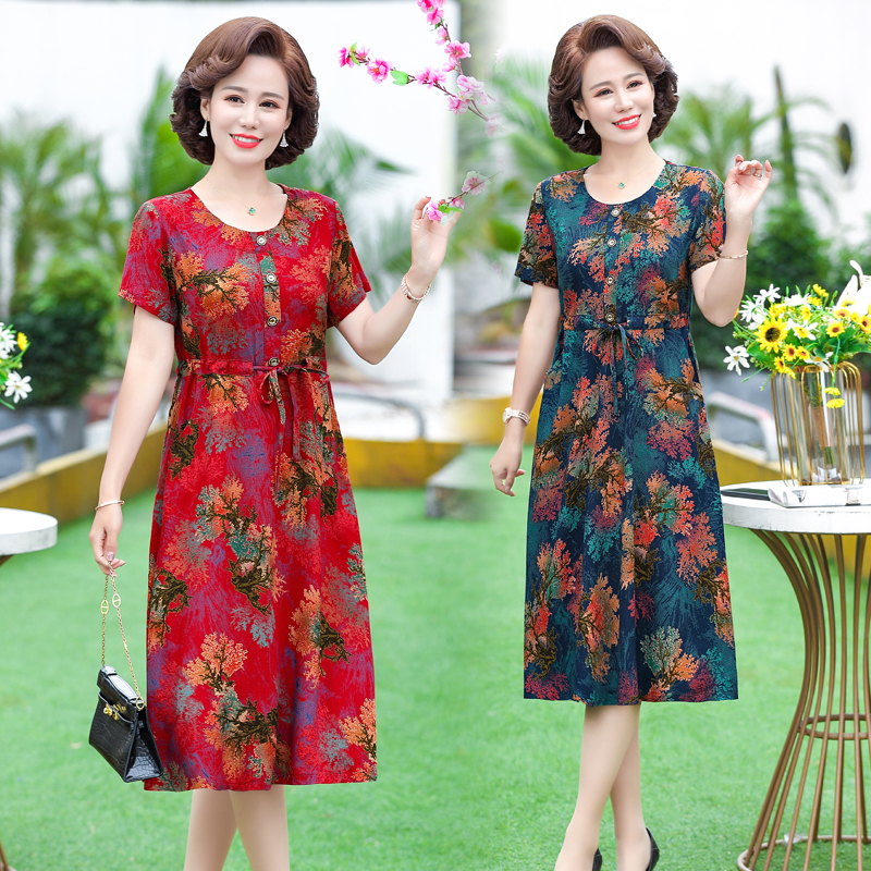 Mothers Day is a short sleeved dress for middle-aged women in their 40s, 50 aunts and 60 mothers in summer.