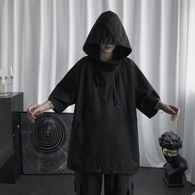 连帽男短袖夏季暗黑系宽松帅气t恤