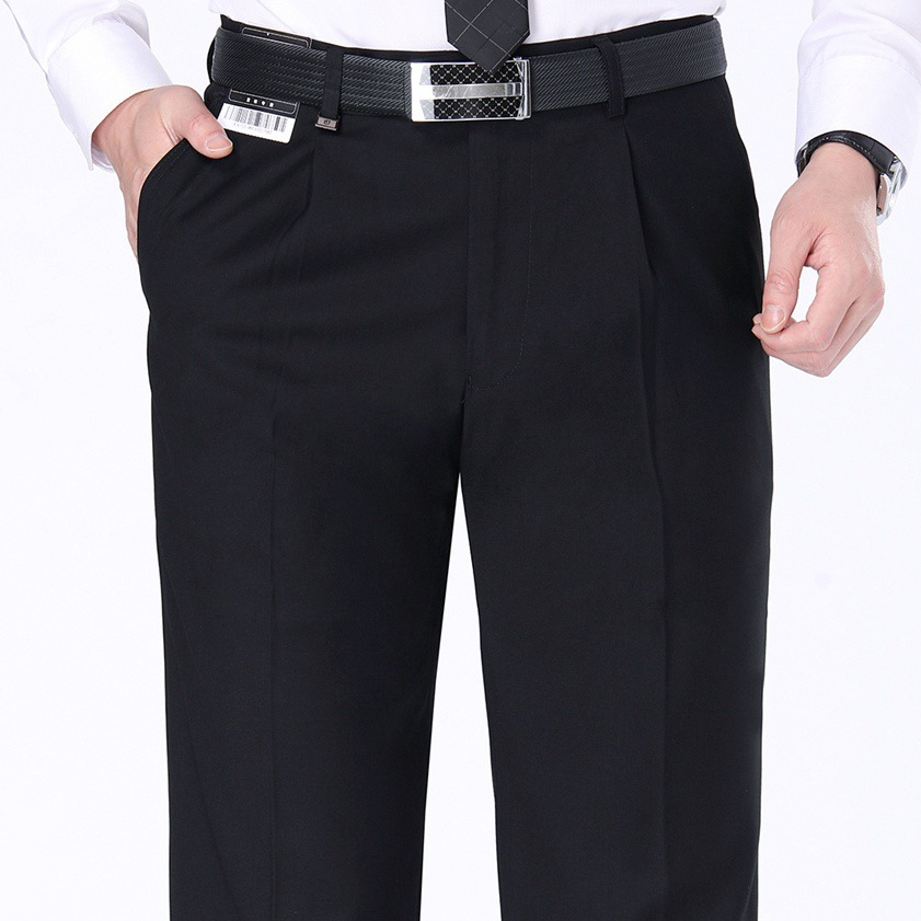 Casual mens pants autumn and winter thick wool trousers mens middle-aged loose straight tube non ironing formal dress large trousers men