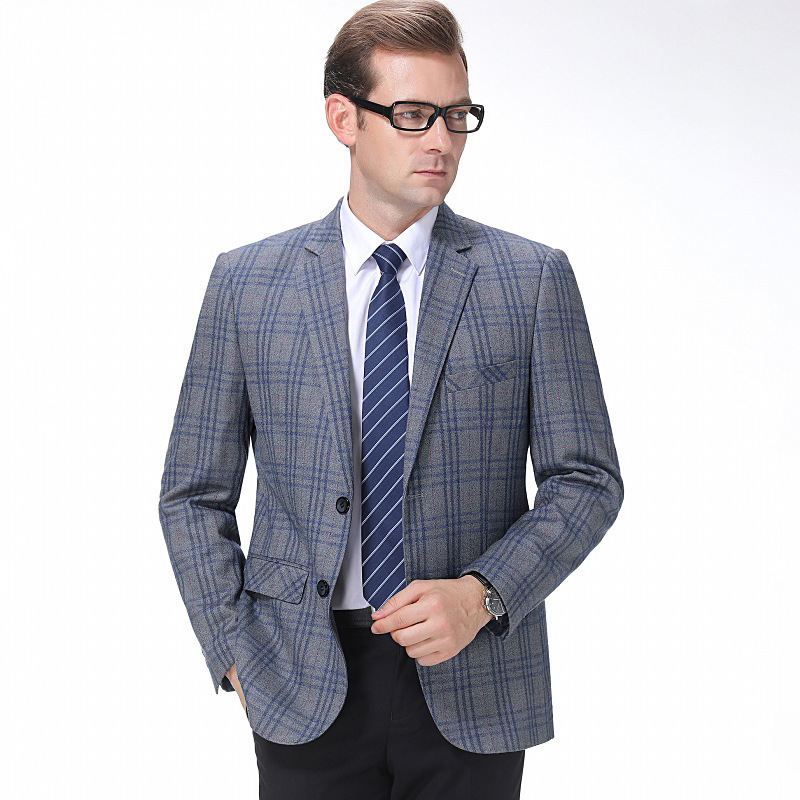 Crazy for new autumn and winter mens suits fashion casual wool single suit trendy mens striped coat