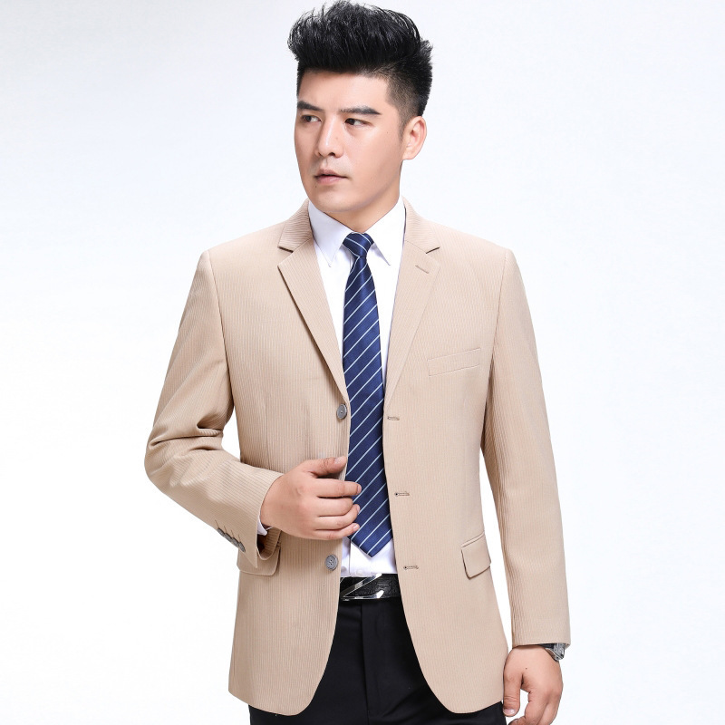 Autumn and winter mens suit fashion leisure middle aged wool single suit trendy mens striped three button coat youth fashion
