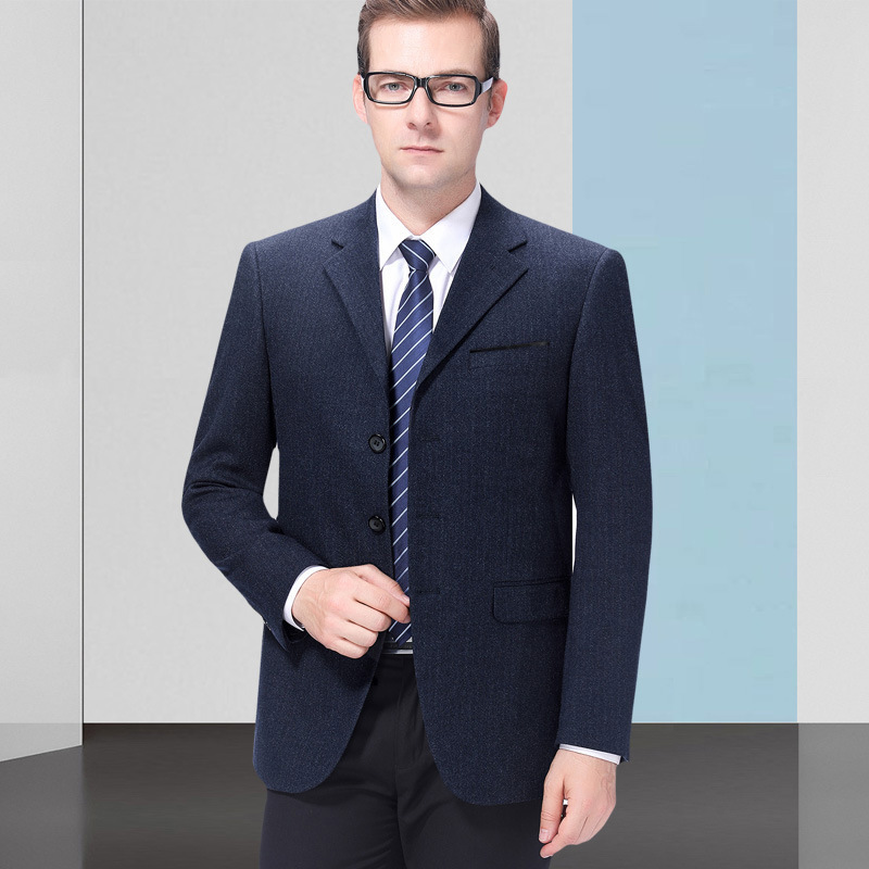 Autumn and winter mens suit fashion business wool single suit three button stripe coat thick one grain double breasted