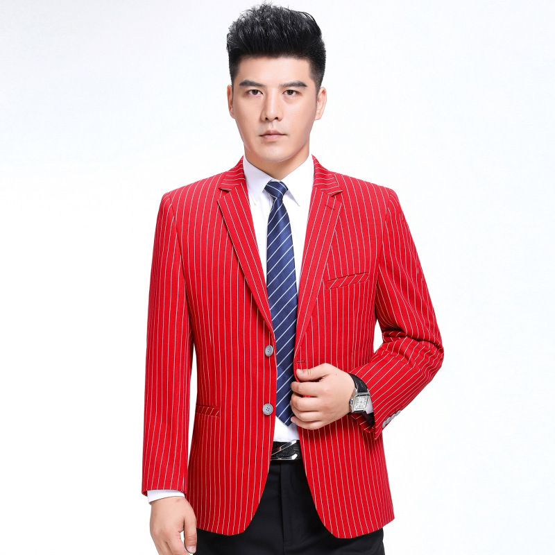 Autumn and winter mens suit fashion leisure middle-aged wool single suit boutique stripe coat regular extra wide