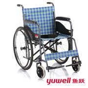鱼跃 家用助行便携H050型钢管折叠轮椅车 class=