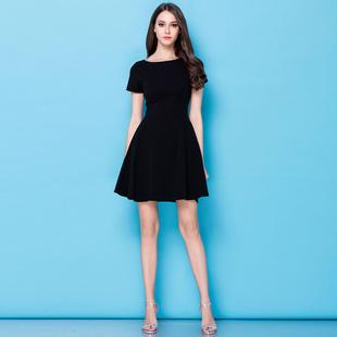 一字肩赫本風小黑裙連衣裙2017秋裝新款女黑色禮服顯瘦長袖紅裙子