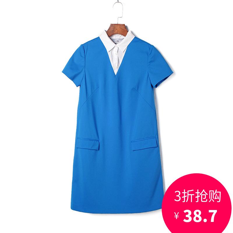 奥特莱斯品牌折扣 ARL夏装撤柜正品 高端女装 宽松拼接时尚连衣裙