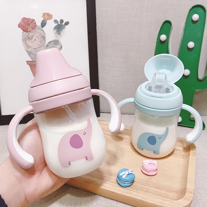 婴儿吸管杯喝奶学饮防呛儿童鸭嘴杯宝宝喝水杯子带吸管手柄幼儿园11-01新券