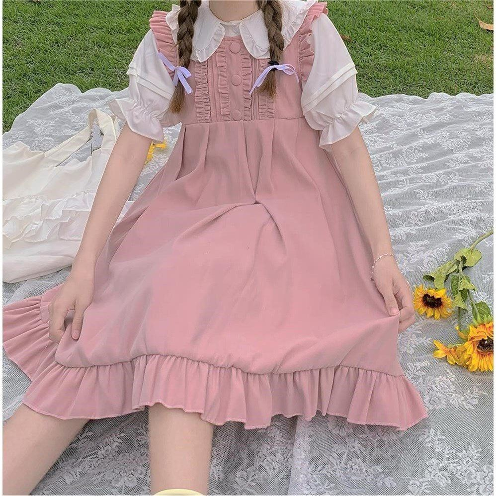 Korean version pure color fungus edge baby collar shirt with ruffle strap dress one piece suit for female students in summer