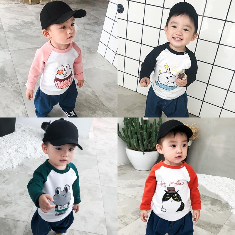 手慢无2019新款男童T恤秋装婴儿宝宝长袖衣服儿童女童洋气纯棉打底衫