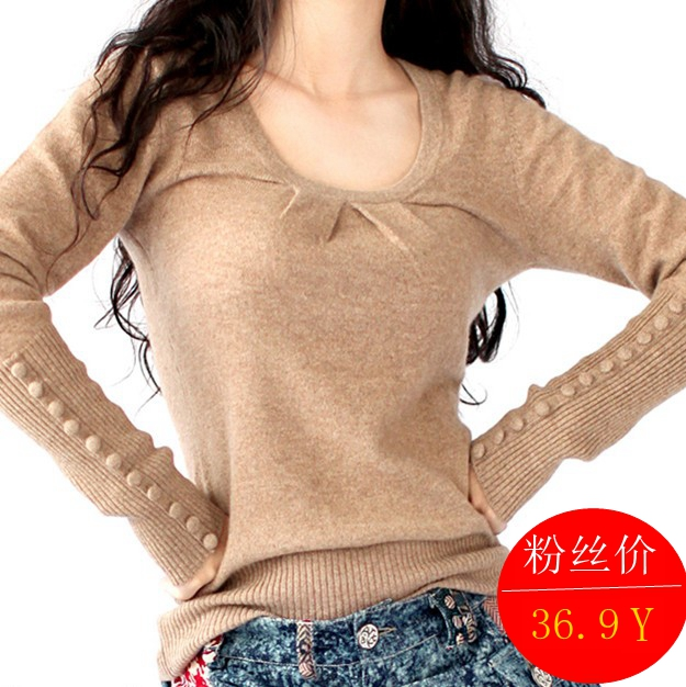 阿卡女装春秋羊毛衫低圆领短款扣袖针织毛衣套头打底衫针织衫