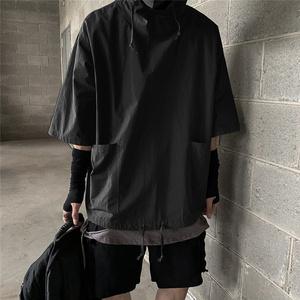 黑暗系男装国潮工装机能风五分袖卫衣男七分宽松慵懒连帽短袖T恤
