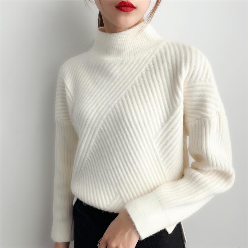 白色高领毛衣女冬加厚2020年新款针织打底衫女宽松春秋装洋气外穿