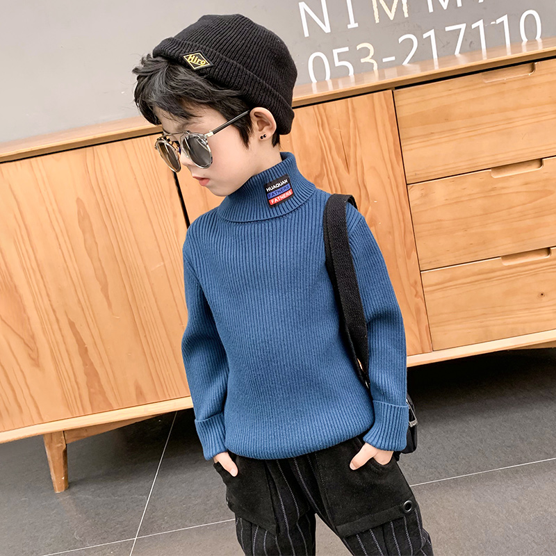 男童毛衣高领套头秋冬款2020新款儿童加绒中大童装男孩加厚潮上衣