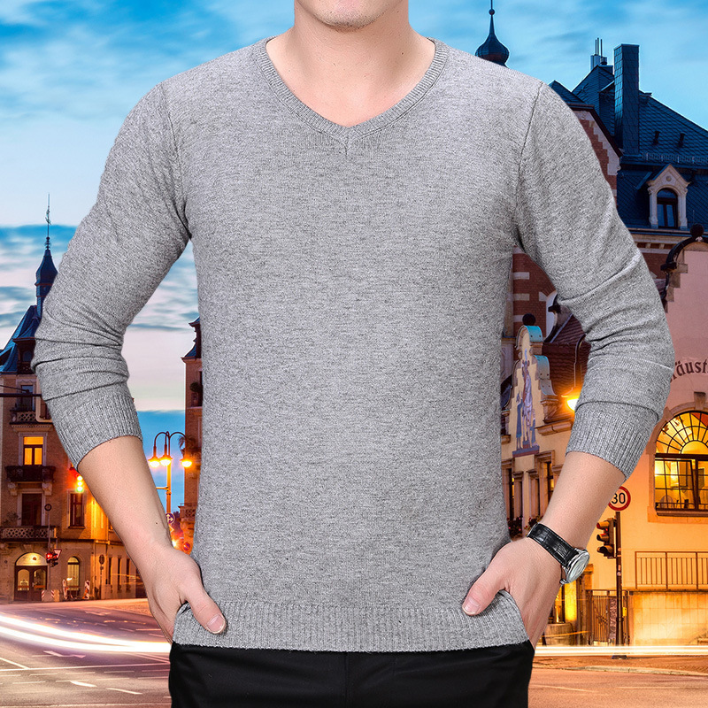 New autumn and winter V-neck pure color mens sweater pure wool sweater middle aged mens Pullover mens sweater