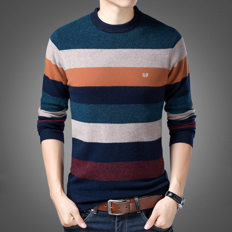Brand autumn and winter new striped jacquard casual middle aged cashmere sweater mens sweater retail