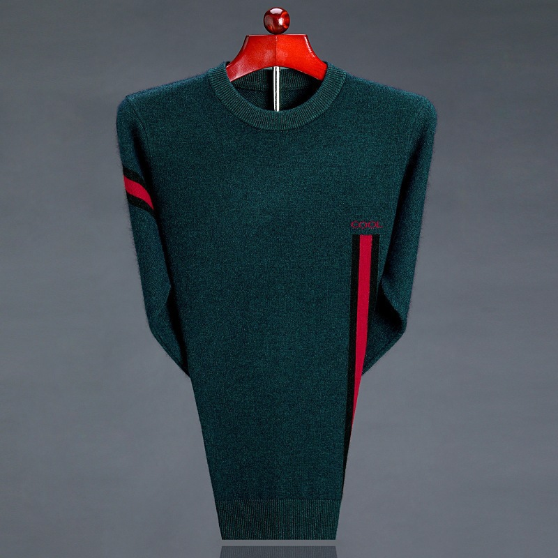 Autumn and winter new brand mens round neck sweater knitted pure sweater mens thickened sweater mens wear