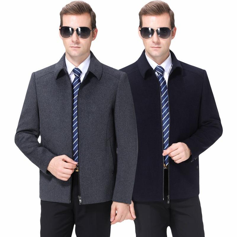 中年男士羊绒大衣2019秋冬新款羊毛夹克纯色时尚休闲百搭加厚外套