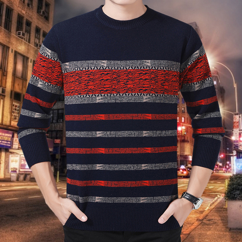 Autumn and winter mens new mens warm round neck sweater middle aged mens casual stripe thickened sweater
