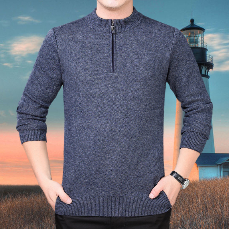 Autumn and winter new semi high neck sweater mens warm bottomed sweater thickened versatile middle-aged mens sweater