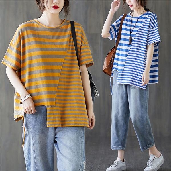 TS18504#新款胖MM拼接不规则条纹大码短袖T恤