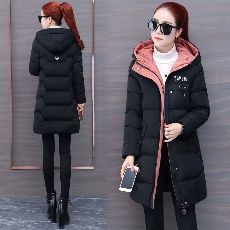 Cotton padded womens middle and long 2021 Korean version latest slim fit thickened down cotton padded jacket large jacket winter cotton padded jacket women