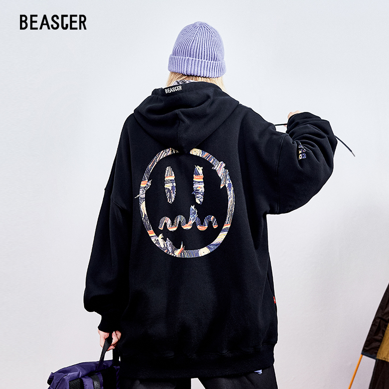 BEASTER Small Devil Face Spring and Autumn Oil Painting Hat Guard, Men's Trendy Couple's Retro Pullover
