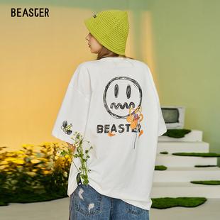 Beaster小恶魔鬼脸短袖明星同款潮牌宽松情侣T恤夏男短袖T恤国潮
