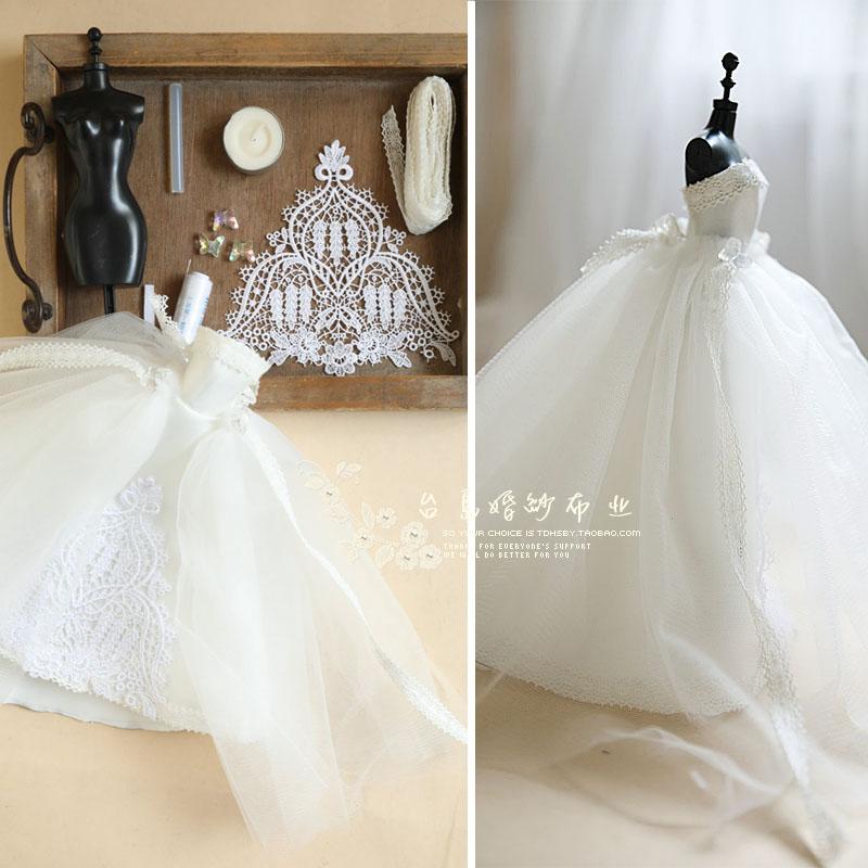 台岛DIY手工布艺缝纫迷你亲子服装芭比BJD6分娃娃婚纱制作材料包