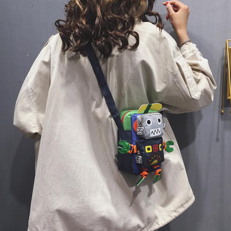 ins超火帆布小包包女包2020新款潮可爱单肩小方包搞怪丑萌斜挎包图片