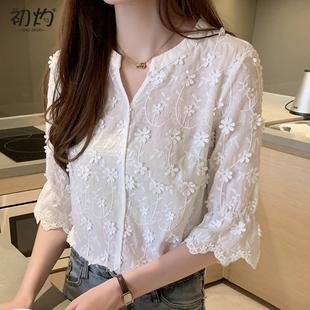 心機襯衫女設計感小眾超仙女範夏季很仙的上衣顯瘦洋氣白色蕾絲衫