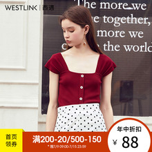 Xiyu suspender waistcoat girl wears a new style of short sleeve knitted T-shirt 10590555 in the spring of 2019
