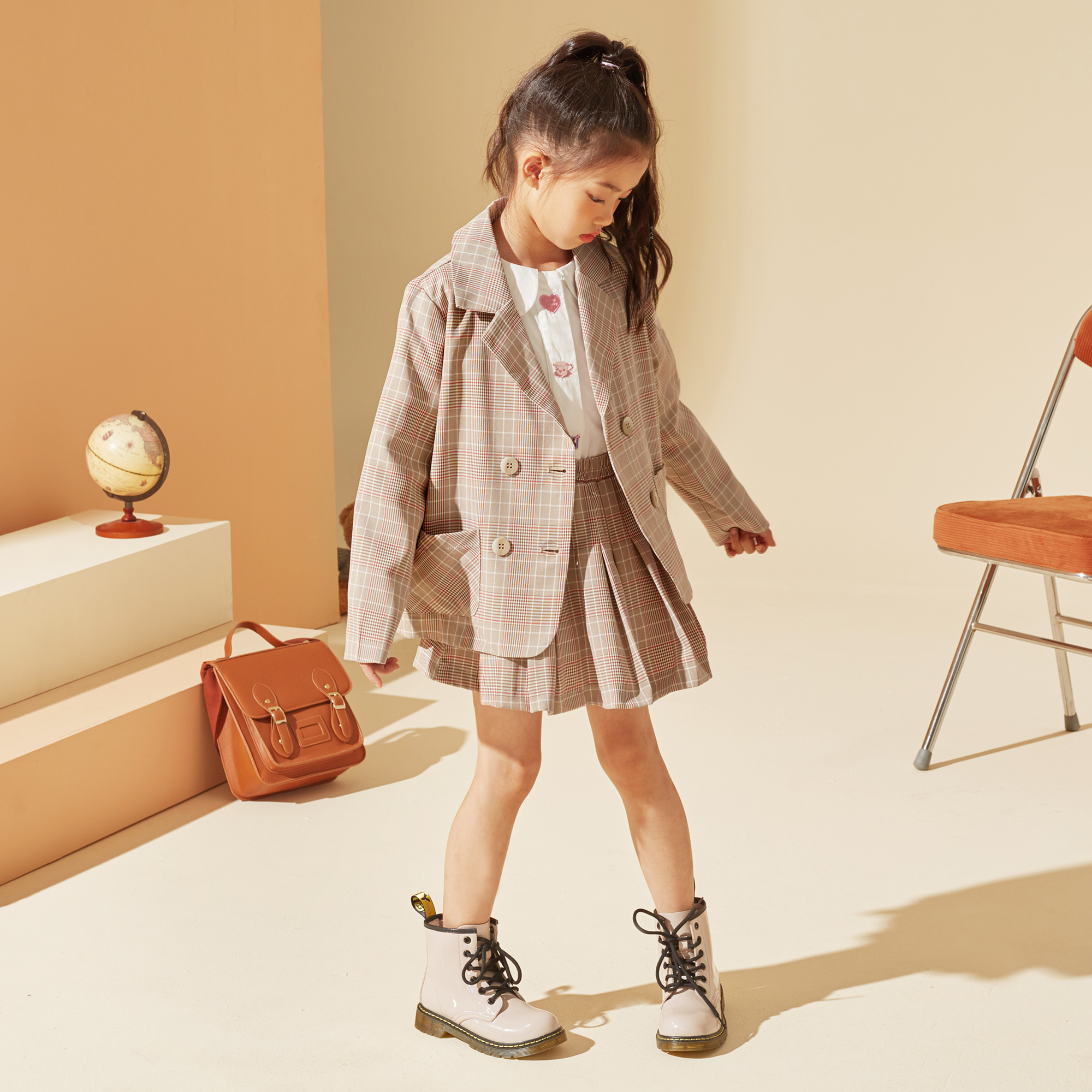 女童套装2021秋新款中大童儿童休闲学院风西装外套半裙两件套