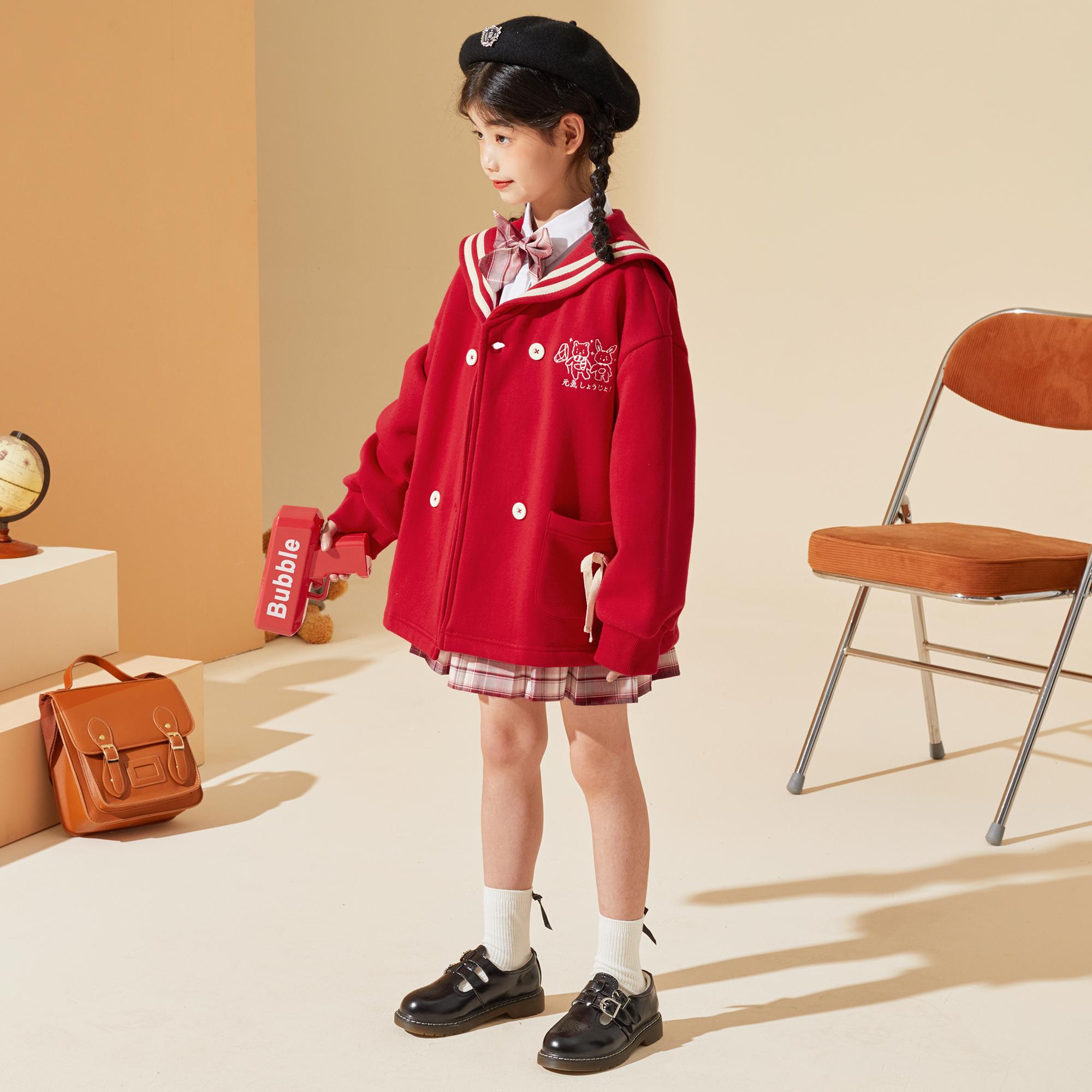 女童外套2021秋装新品中大童儿童女童海军领洋气长袖外套